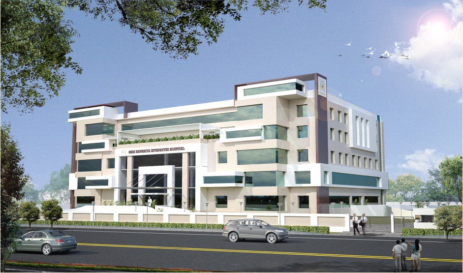 Front Elevation Of Hospital Building : Bhai kanhaiya sevapanthi hospital